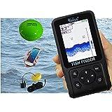 Hcyx Buscador de Peces 3 en 1, Modo inalámbrico/con Cable/aplicación, buscador de Peces, Alarma, Sonar de Pesca portátil, buscador de Profundidad LCD, ecosonda, para Pesca en Lago, río