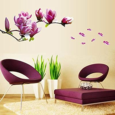 Wall Stickers For Kids,Lavany Fresh Magnolia Flower Wall Sticker Decal Removable PVC Wall Sticker Home Bedroom Decor