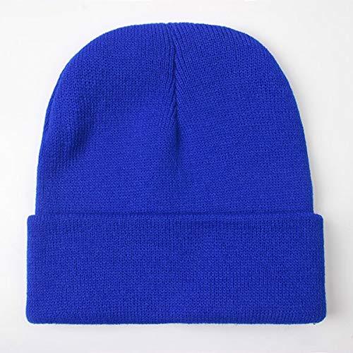 Gorro Unisex slido Otoo Invierno Mezclas Gorra de Punto Suave y clida Hombres Mujeres Sombreros Skullcap Gorras de esqu Gorro Gorros de 24 Colores-Dark Blue