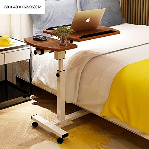 TTXP Carbon Steel Adjustable Computer Desk with Brown Composite Pressed Plate,With Mouse Board, Adjustable Height, Foldable, Lockable Casters,Desk Without Wheels for Eating on Bed