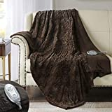 Hyde Lane Premium Faux Fur Heated Throw Blanket| Soft Electric Blanket | Chocolate, 50x60 Inch Brushed Underside | Silky Fuzzy and Pilling Resistant | 3 Heat Settings | Auto-Shutoff | Machine-Washable
