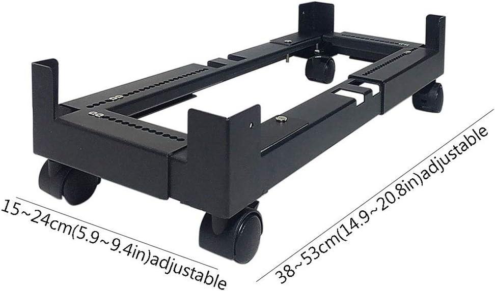 Size : Large size Mobile CPU Stand Mobile CPU Stand Desktop Host Floor Bracket Chassis Metal Base Cooling Bracket Adjustable Mobile Cart Holder with Locking Caster Wheels Black PC Cart Holder