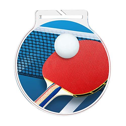 Medalla de tenis de mesa grande con cinta para palos y fiestas, hecho de acrílico impreso de 60 mm (cinta azul).