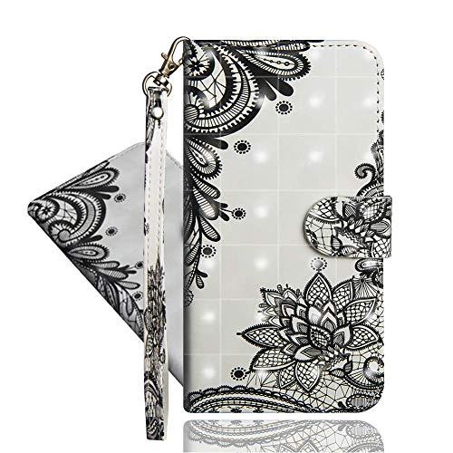 IMEIKONST Kompatibel mit Oppo Reno 4 Z 5G Hülle, 3D Muster Leder mit Kartenhalter Faltbare Tasche Handyhülle mit Standfunktion Brieftasche Schutzhülle für Oppo A92S. Diagonal Lace YX