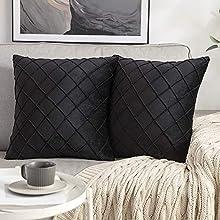 MIULEE 2 Piezas Funda de Cojines Terciopelo Suave Color Sólido Funda de Almohada con Cremallera Oculta Moderna Duradera Decorativa para Habitacion Sofá Dormitorio Sala de Estar 45x45cm Negro