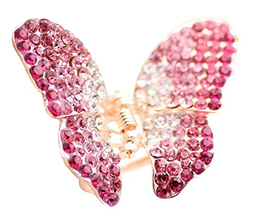 Plus Nao(プラスナオ) ヘアクリップ ヘアアクセサリー ヘアアクセ レディース ファッション雑貨 チョウチョ バタフライ キラキラ おしゃれ - ピンク