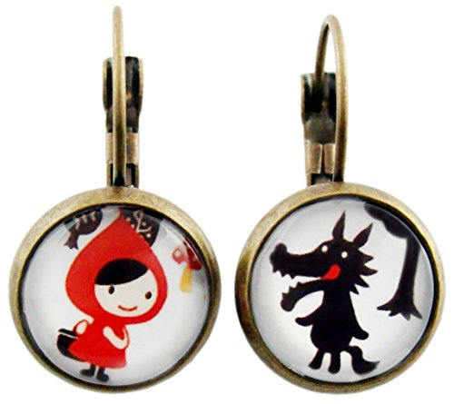 Miss Lovie Ladies Stud Earrings Cabochon Little Red Riding Hood And Wolf 12 mm Red Bronze