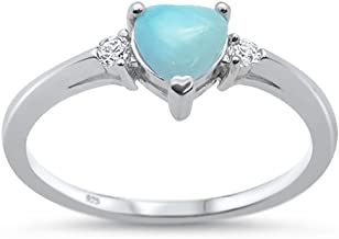 Oxford Diamond Co Sterling Silver Natural Larimar Heart & Cubic Zirconia Ring Sizes 3-10