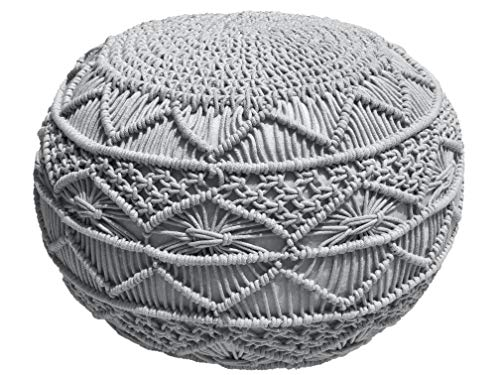 Pouf Ottoman Hand Knitted Cable Style Dori Pouf - Macramé Pouf - Floor Ottoman - 100% Cotton Braid Cord - Handmade & Hand Stitched - Truly one of a Kind Seating - 20 Diameter x 14 Height (Silver Grey)