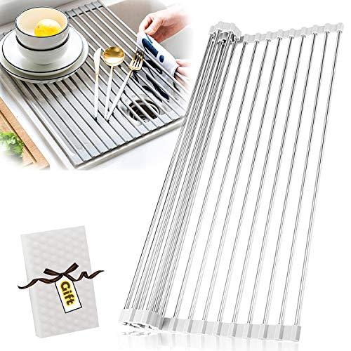 AIDBUCKS Abtropfgestell für die Küchenspüle 52cm x 35cm Abtropfgitter Größere Küche Dish Drain Racks Faltbar Leicht Verstaubar Anti-Rutsch-Matte Grau