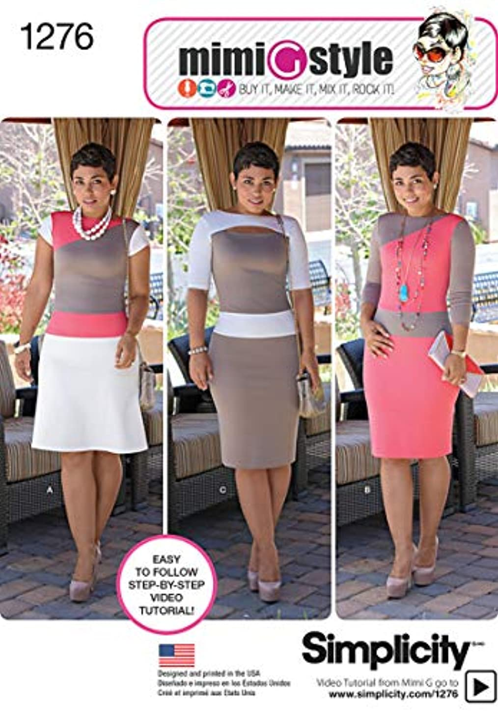 SIMPLICITY US1276H5 Misses' and Miss Petite Knit Dress Sewing Template