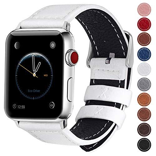 Fullmosa Cinturino per Apple Watch 44mm/42mm, Jan Cinturino in Pelle con Chiusura in Acciaio Inossidabile Compatibile con iWatch Serie 5 4 3 2 1, Bianco, 42mm/44mm