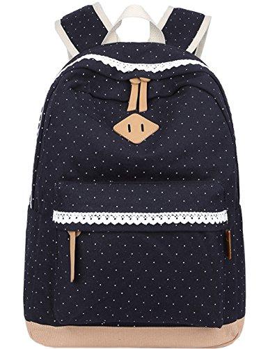 Leichte Schulrucksack mit Polka Dots Nette Canvas Schultaschen Damen Mädchen EXTRA Groß Kinderrucksack Daypacks Rucksäcke Modische mit Laptop Fach 33 * 45 * 17 cm – Little Princess (Schwarz)