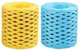 CYJZHEU cinta de rafia de colores, 2 Roles cinta de papel de rafia cuerdas rafia Para Tejer de Yute Natural Para Manualidades Bricolaje Papel de Regalo Guita Decoración de Flores (Azul, Amarillo)