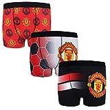 Manchester United FC - Pack de 3 calzoncillos oficiales de estilo bóxer - Para niños - Con el escudo del club - 9-10 años