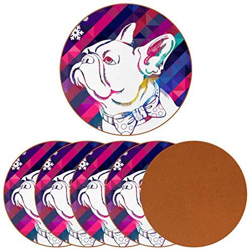 Posavasos de bebidas – Lindo pajarito perro carlino posavasos de cerámica con cuero, juego de 6 piezas