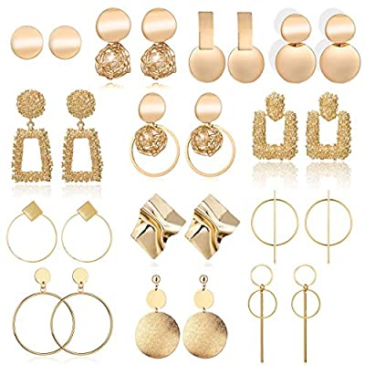 13 Pairs Statement Drop Dangle Earrings, Gold S...