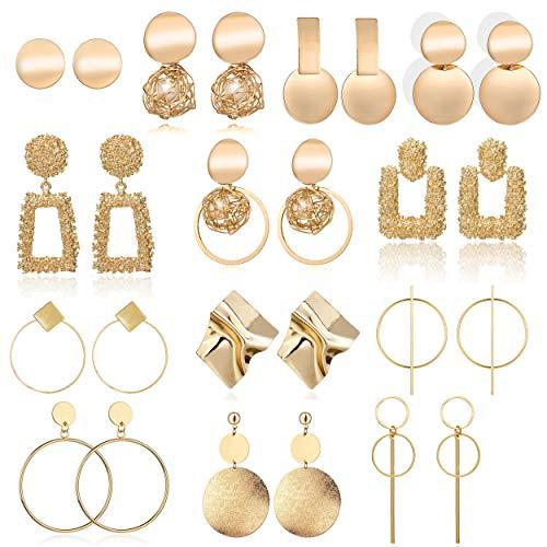 13 Pairs Statement Drop Dangle Earrings, Fashion Big Geometric Earrings for Women \& Gold Stud Hoops Earrings for Girls, Hanging Earring Set Jewelry Gifts