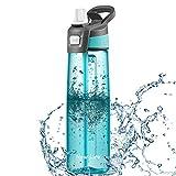 Newdora Botella de Agua Deportes 750ml, Botella Agua Niños Sin BPA, con Pajita, Cepillo de Limpieza y Tapón a Prueba de Fugas, Botella Agua Deportiva para Niños, Adultos, Sport, Gimnasio, Trekking