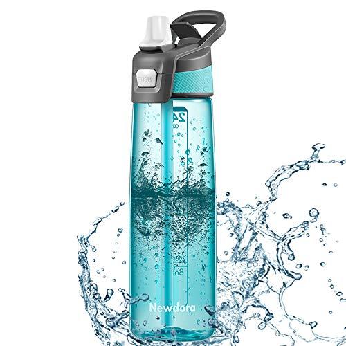 Newdora Borraccia Sportiva Senza BPA 750ml/24oz, Bottiglia Acqua a Prova di perdite con Una Spazzola per la Pulizia, Borracce per Corsa, Bambini, Scuola, Sport, Allaperto, Palestra, Yoga
