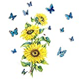 Zasjon girasol pegatina,vinilos de flores, pared pegatinas decoración con 12 piezas mariposas decorativas 3d para sala de estar pasillo escalera decoración de pared de dormitorio de niño niña, B