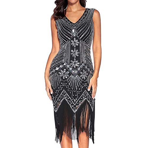 Sabarry Gatsby Dress, Women 1920s V Neck Beaded Fringed Evening Flapper Dress for Party Cocktail Dresses. (Black,L)