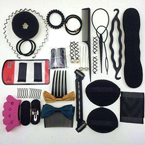Cuhair Mélange 45pcs DIY Outil de cheveux style Barrettes pince à cheveux Cravate élastique accessoires pour cheveux