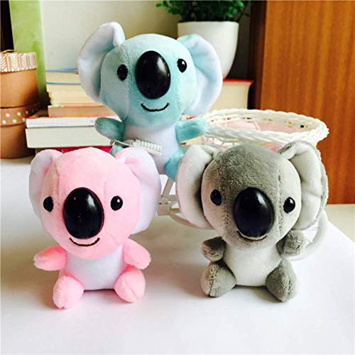 Fulinmen Plush Toy,10cm Cute Mini Koala Plush Toy Fluffy Stuffed Animal Doll Key Chain Pendant,Made of US Natural Cotton,Perfect Best Gift for Thanksgiving,Christmas,Valentine Blue (Size : Pink)