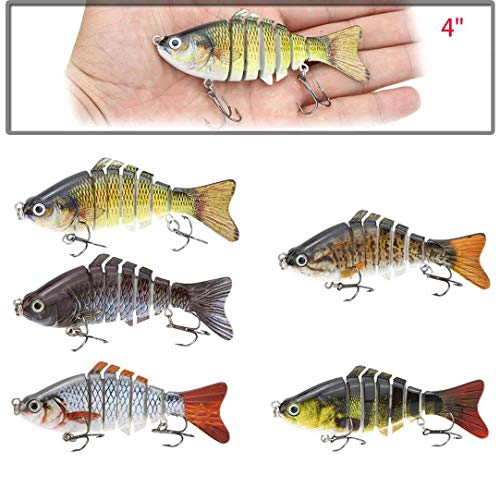 Bionic Multi Jointed Fishing, 10cm 15.5g Lure Sun-Fish Lifelike Hard Bait Bass Walleye Pike Roach Trout Swimbait