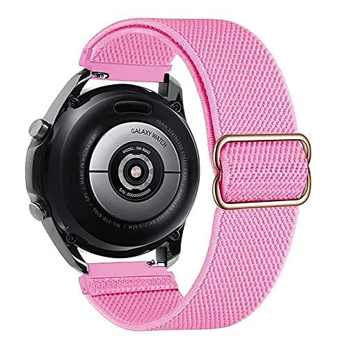 Ajustable Correas Nailon Compatible con Samsung Galaxy Watch 46mm/Gear S3 Frontier, 22mm Correa de Repuesto Compatible con Huawei Watch GT/GT 2 46mm, Banda Mujer y Hombre, Pulsera, Polvo de Barbie