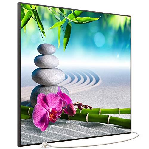 STEINFELD Bild Infrarotheizung mit Thermostat | Made in Germany | viele Motive 350-1200 Watt Rahmen schwarz (1200W, 059 Zen-garten)