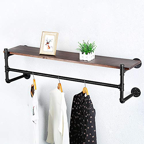 Industrial Pipe Clothing Rack Wall Mounted Real Wood ShelfPipe Shelving Floating Shelves Wall ShelfRustic Retail Garment Rack Display Rack Cloths RackSteamPunk Commercial Clothes Racks1 Tier48in