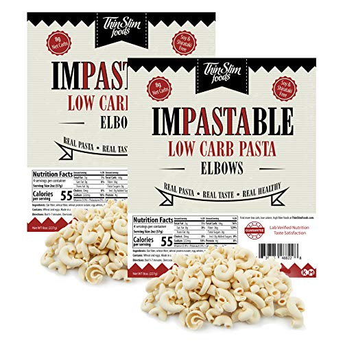 ThinSlim Foods Impastable Low Carb Pasta, Elbows 2pack | 8g Net Carbs | 55 Calories | No Shirataki | No Soy | No Pea or Bean Flour | Real Pasta, Real Taste, Real Healthy