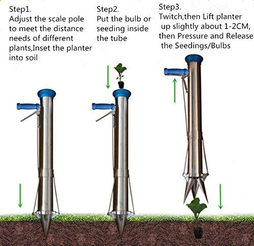 Ymachray Long Handled Bulb Planter Tools and Vegetable Seedling Tool Manual Plant Transplanter 2 SEMI-AUTOMATIC PLANTER: There is no need to bend down to seed anymore, you have this brand new semi-automatic planter when helps you to dig hole, transplant and cover soil. Avoid digging in dry or overly saturated soil. OPERATING PRINCIPLE: After loosening the whole ground, stuck the seedling planter in to the soil and drop a seedling into the planter, pull the handle like a brake, and hold up the planter, it will finish seeding HIGH QUALIT: 304 stainless steel with the plastic funnel seedling entrance, the import the spring allows for more than 50000 times, comes with comfortable sponge handles to protect your hands