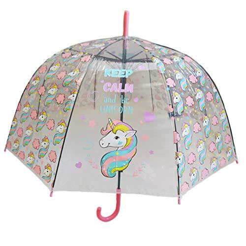Paraguas Transparente, Paraguas Unicornio niña, Color Rosa/Paraguas de Moda niños y niñas