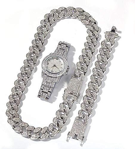 WYOY Collana a Catena diamantata, Braccialetto Hip-Hop, Orologio diamantato 3 Pezzi Set di Gioielli Hip Hop (Color : 2-Silver, Item_Display_Length : 20.0 Inches)