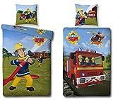 Familando 447026050 - Juego de sábanas de linón de algodón, 135 x 200 cm, incluye funda de 80 x 80 cm, diseño de Sam el Bombero