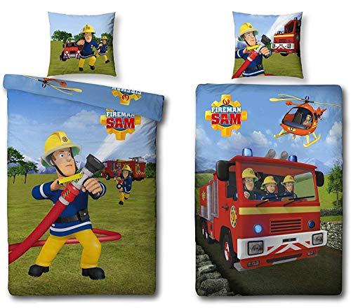 Familando Wende Bettwäsche-Set Feuerwehrmann Sam, 135 x 200 cm 80 x 80 cm, 100% Baumwolle, Linon 2 Motive auf Einer Bettwäsche