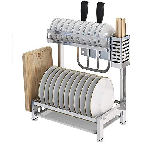 WXX 2 Etagen Geschirrabtropfgestell Edelstahl Geschirrtrockner Mit Abnehmbarem Besteckkorb Abtropfschale Besteckhalter Und Schneidebretthalter Abtropfgestell Für Die Küche