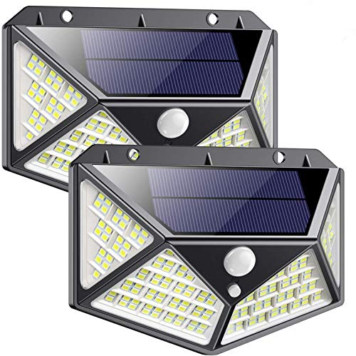 Luz Solar Exterior 162 LED, QTshine2020 Última versiónFoco Solar con Sensor de Movimiento Gran Angular de Iluminación 270º Lámpara Solar Impermeable 3 Inteligente Modos Para Jardín [ 2 Paquete ]