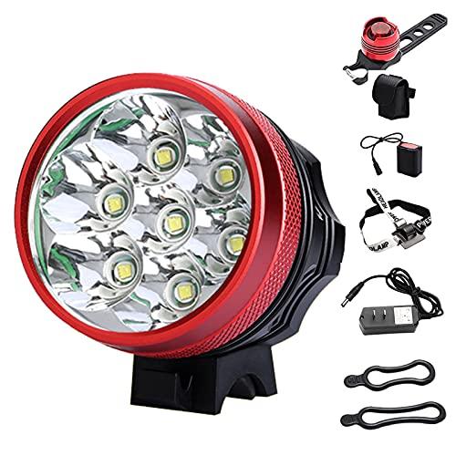 Luz Bicicleta, 9000LM 7 LED CREE XM-L T6 USB Recargables Luces Bicicleta con 5 Modos Iluminación, Al Aire Libre LED Luces Bici Delantera and Luces Trasera Kit para Correr, Pescar, Acampar, Bicicleta