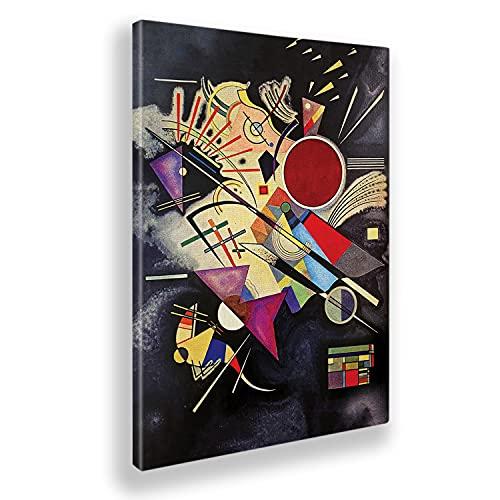 Giallobus - Cuadro - Impresion en Lienzo Kandinsky - Cuadro Abstracto ACOMPAÑAMIENTO Negro - Pinturas Modernas de lienzos - Varios formatos - 50 x 70 CM