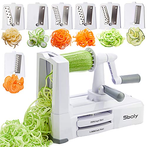 7 Blades in 1 Vegetable Spiralizer, Zucchini Spaghetti Maker Zoodle Maker Veggie Pasta Maker, Strongest and Heaviest Duty Mandoline Slicer with Container, Lid, Brush