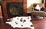 A-Star Large White Cowhide Rugs -  5x5 Genuine Cowhide Rug (Brown Ad White)
