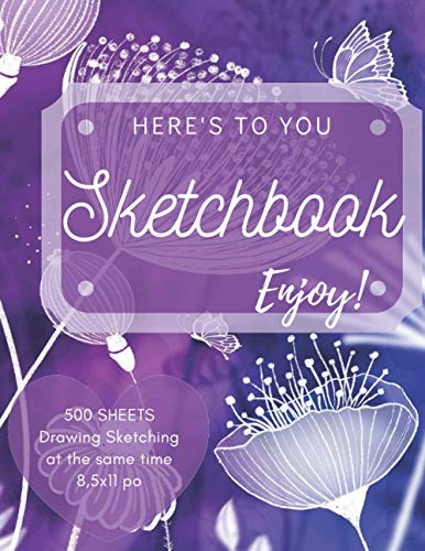 Sketchbook 500 sheets: flower, for women, Drawing & Sketching at the same time, Sketch Pad for Drawing Sketching, Drawing, Creative Doodling to Draw ... & Sketching- purple Rose, for women & girls