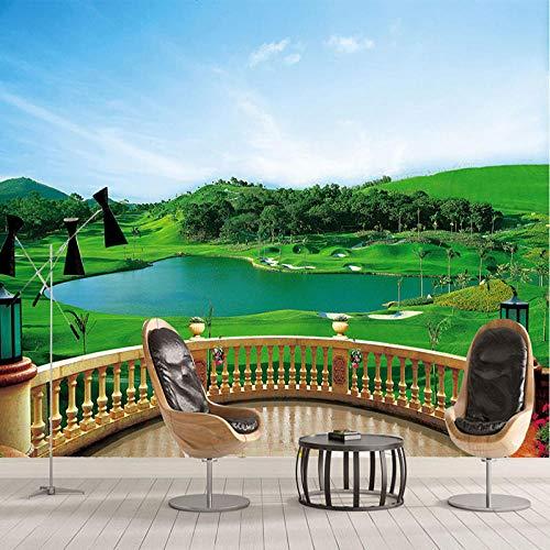 NIdezuiai behang wandschilderingen, stereo-installatie balkon golfplaats foto aanpassen van 4D wallpaper Modernste Hd-prints voor woonkamer slaapkamer inrichting grote zijde muurschildering 460cm(W)×280cm(H) (184×112)in zoals getoond