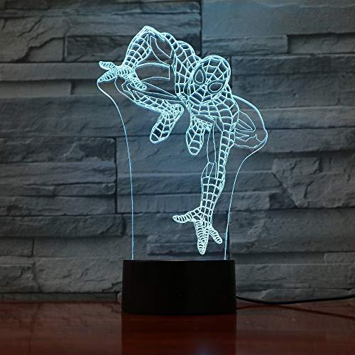 WANGJIA Spiderman 3D Night Light Touch Switch 7 Colori Che Cambiano Lampada Da Tavolo A Led Spider Man Usb Night Lights Home Decor Giocattolo Per Bambini Regalo