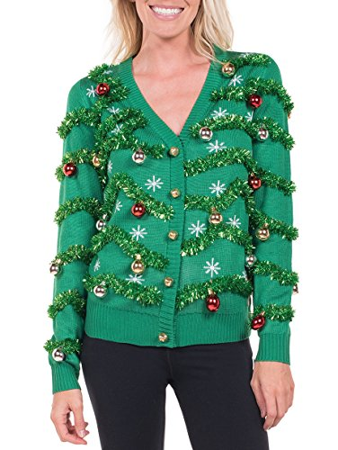 Women's Gaudy Garland Cardigan - Tacky Christmas Sweater with Ornaments: Large Green
