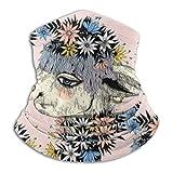 Dibujado a mano lindo lama alpaca con una corona de flores de campo, motocicleta, bicicleta, máscara facial, escudo para unisex, hombres, mujeres, a prueba de polvo, media máscara, pasamontañas para d