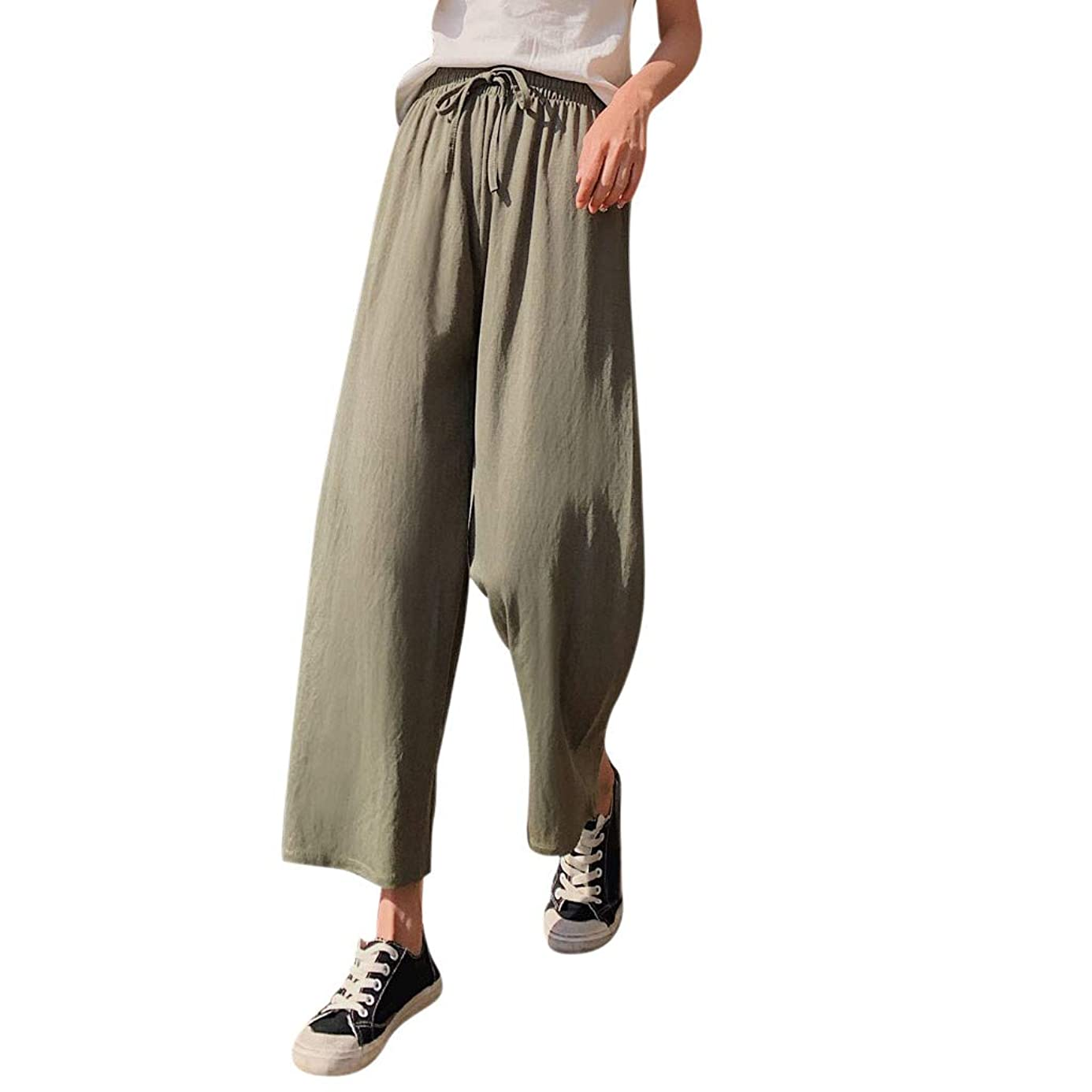 hositor Pants for Women, Fashion Ladies Cotton Linen Blend Long Pants Casual Wide Leg Beach Loose Trousers